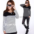 2013 casual all match women's black and white stripe o neck long sleeve basic shirt