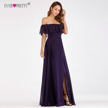 8ac75ee4a Púrpura vestidos de noche bonito EP07679 Sexy Off-hombro vestido de fiesta  vestidos con volantes 2018 invitado de vestidos de boda