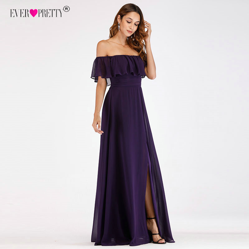 Purple   Evening     Dresses   Ever Pretty EP07679 Sexy Off-shoulder A-line Long Party Gowns with Ruffles 2018 Wedding guest   Dresses