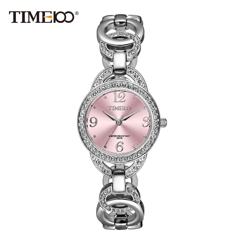 ФОТО Time100 Luxury Fashion Women's Bracelet Watches Skeleton Stainless Steel Strap Quartz Watches Pink Diamond Dial Wrist Watch