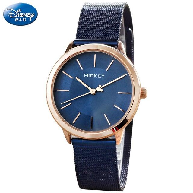 eafd5b55ecd DISNEY Vestido Mulheres Relógios Rosa de Ouro Aço Quartz Relógios de Pulso  Mickey Luxo Senhoras Relógio