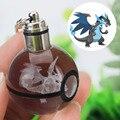 Mega pokemon charizard x novelty mini portátil ir gravura 3d rodada pingente de bola de vidro de cristal led keychain colorido presente da criança