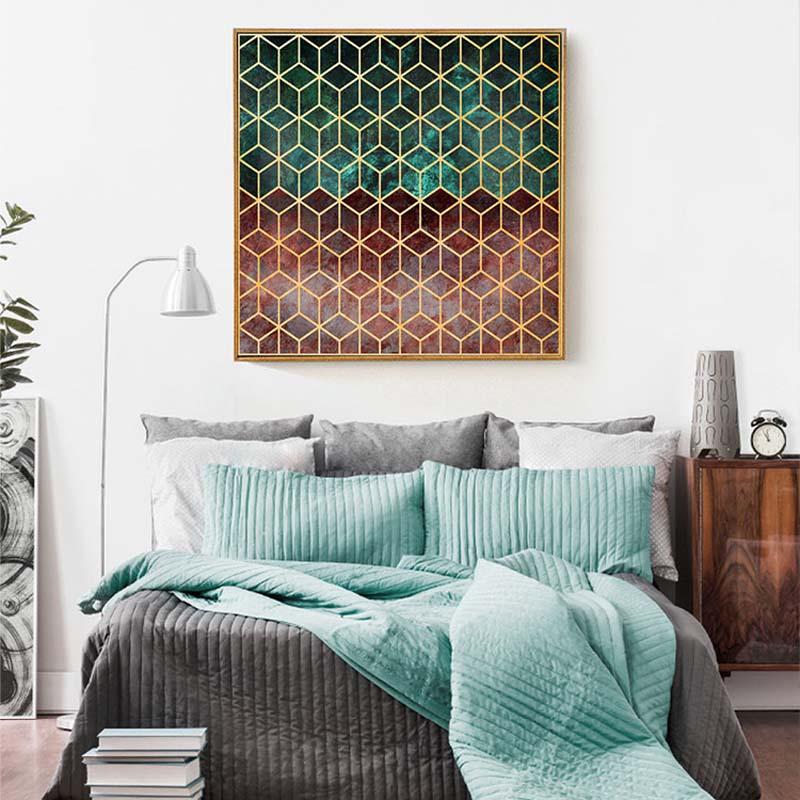 US $6.64 50% di SCONTO HAOCHU moderna geometrica astratta decorazione della  stanza della pittura camera da letto divano sfondo della parete ristorante  ...