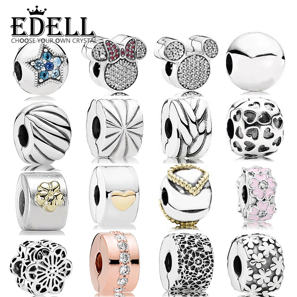 EDELL 100%925 Sterling Silver Jewelry Security Clip Heart-Shaped Cherry Star Daisy Tire Flower Rose Gold Clip DIY Bracelet GiftEDELL 100%925 Sterling Silver Jewelry Security Clip Heart-Shaped Cherry Star Daisy Tire Flower Rose Gold Clip DIY Bracelet Gift