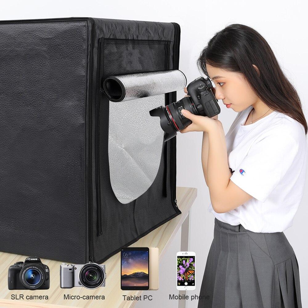 Lightbox Studio Photo Boîte à Lumière Photographie Softbox 160 Lampe LED Portable Pliant Studio Table Tir Tente Boîte Kit 80 cm 32'