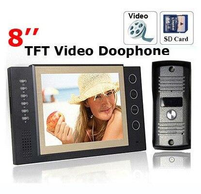 Luxury Door Phone 8 Inch TFT Monitor LCD Color Video Take Picture Record DoorPhone Intercom 11 DoorBell Rings  IR CMOS Camera
