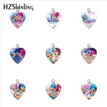 2019 New Arrival Shimmer and Shine Heart Pendants Anime Glass Dome Art Photo Pendant Jewelry for Girls Gift Accessories(China)