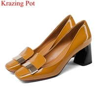 2018 fashion cow leather shallow square heel big size women pumps slip on elegant wedding office lady party metal sexy shoes L49