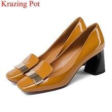 Zapatos de tacón cuadrado poco profundo para mujer, calzado de tacón cuadrado de cuero de vaca a la moda, sin cordones, elegantes, para boda, oficina, fiesta, L49, 2021