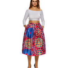 Women Summer Casual Elastic High Waist Elegant Floral Print A Line Pleated Party Skater Skirt With Pockets