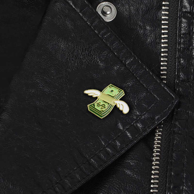 Летающий наличные брошки укладка наличные кукольный пучок Крылья Ангела значок с эмалью рубашка пальто значок для рюкзака друзья подарки