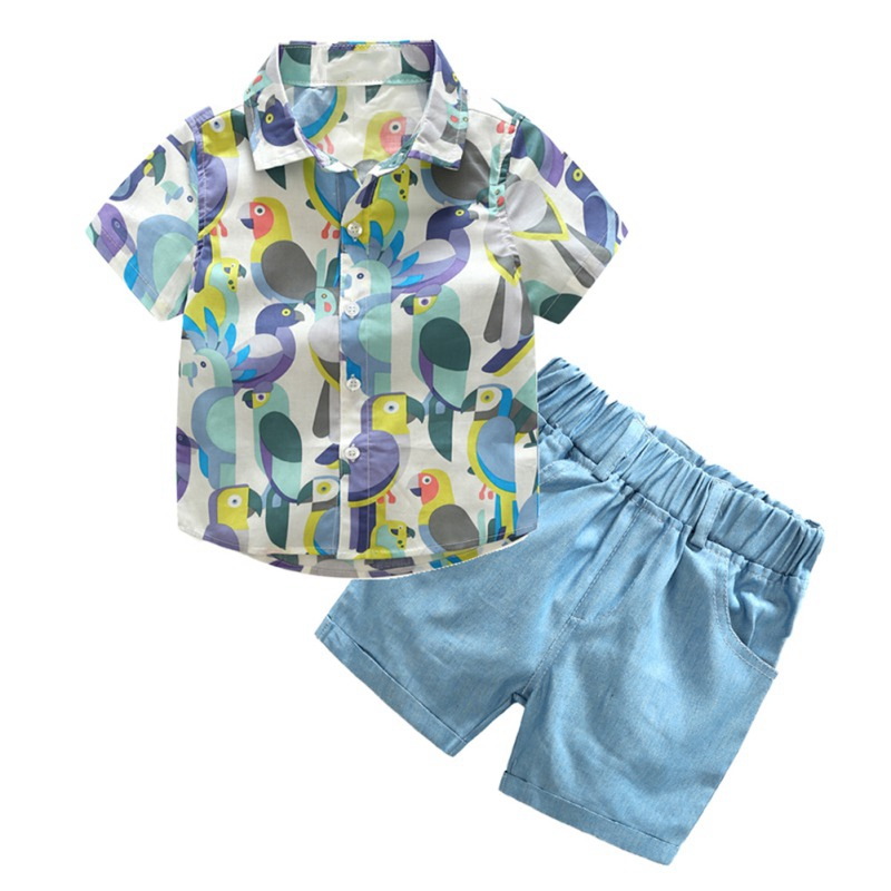 Summer Baby Boys Clothes Short Sleeve Animal Print Tops Blouse Shirt Shorts Children Casual Clothing Sets in Clothing Sets from Mother Kids