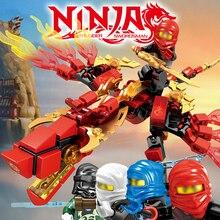 142 шт. Ninjagos Dragon Knight строительный блок совместимый ниндзя LegoINglys Zane и Kai Jay Развивающие DIY кирпичные игрушки для детей