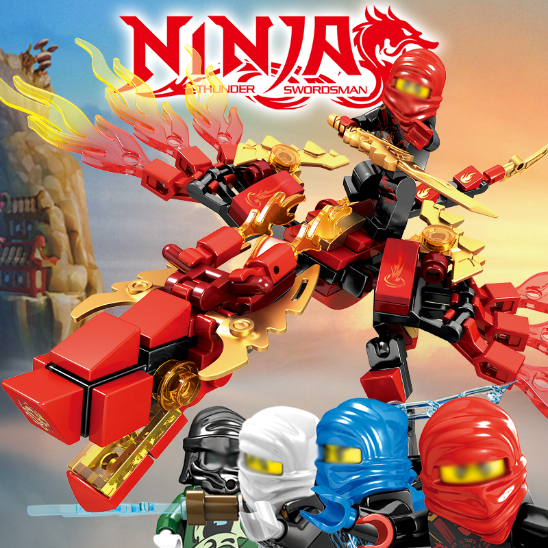 142 Pcs Ninjagos Dragon Knight Building Block Compatible Ninja LegoINglys Zane Kai Jay Educational DIY Brick Toys For Children
