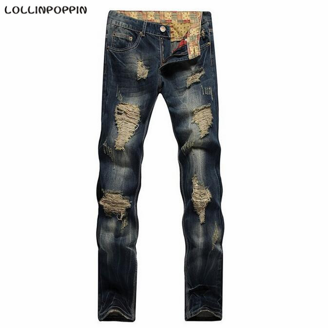Men Distressed Blue Jeans Ripped Broken Denim Pants New 2017 Straight Fit Mens Holed Jeans Garment Washed Retro Jeans технический фен bosch phg 500 2