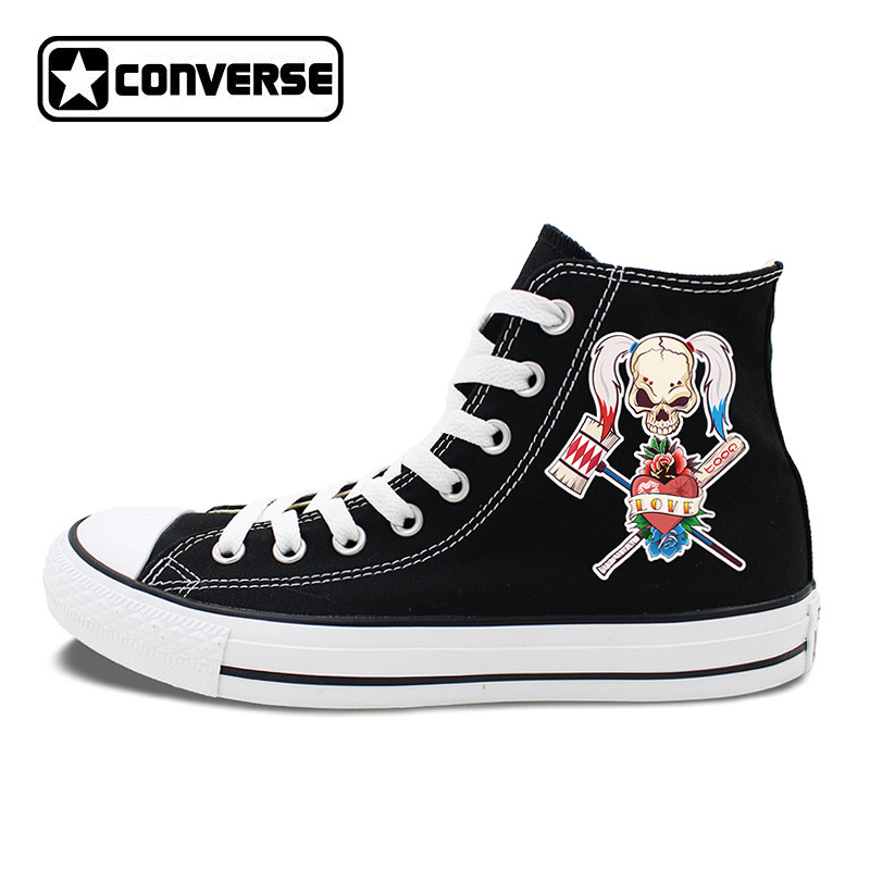 High Top Skateboarding Shoes Original Design Sport Baseball Bat Skull Girl Black White Converse Canvas Sneakers Shoes original converse women s high top skateboarding shoes sneakers