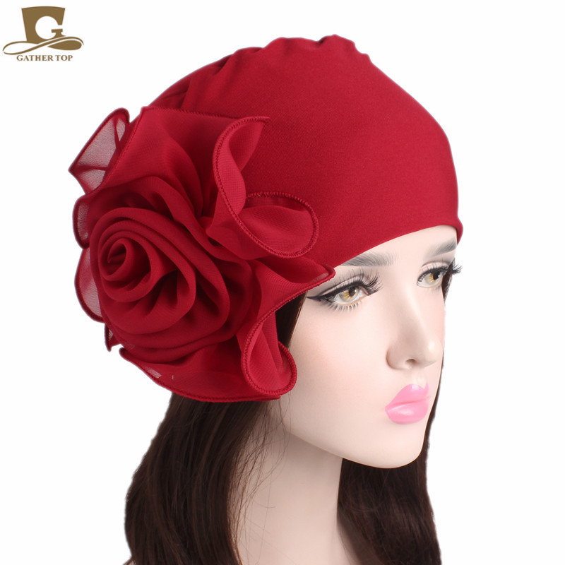 New women king size Flower Stretchy Beanie Turban Bonnet Chemo Cap For Cancer Patients Ladies Bandanas African Head wrap