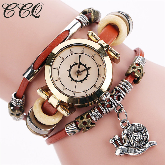 CCQ Fashion Vintage Cow leather Bracelet Watches Casual Women Crystal Snail Pend