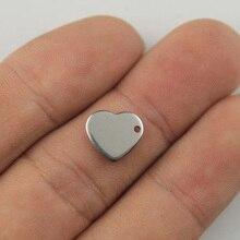 Z grawerowanie laserowe LOGO w kształcie serca gładka tagi ze stali nierdzewnej tab naszyjnik metki etykiety 50 200 sztuk/partia biżuteria części ZSP118