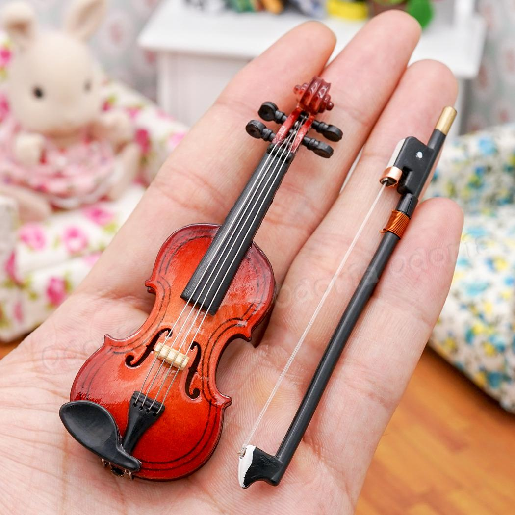 Dollhouse Miniature Musical Instrument Wooden Violin w// Case Stand 1//12