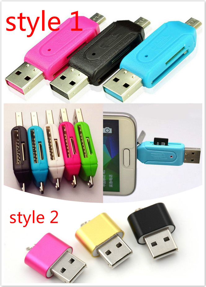 2 Styles Universal USB TF/SD Card Reader Phone Extension Headers Micro USB OTG Card Reader Micro SD Card Adapter For Android PC