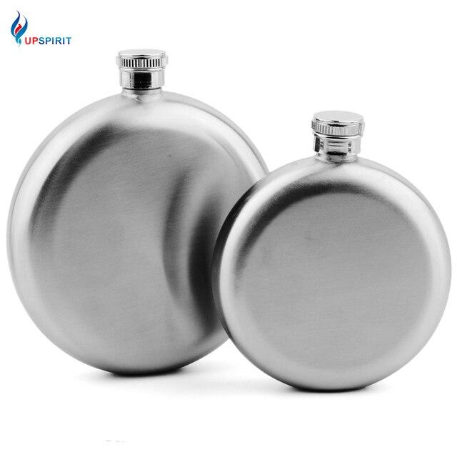 Upspirit 5oz/8oz Delicate Round Stainless Steel Hip Flask Alcohol Bottle Whisky Flasks Outdoor Portable Smooth Shot Pot For Men