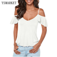 2017 New Womens Fashion Ruffles Sexy Off Shoulder Tops Flare Sleeve Strap Blouse White Lace Up