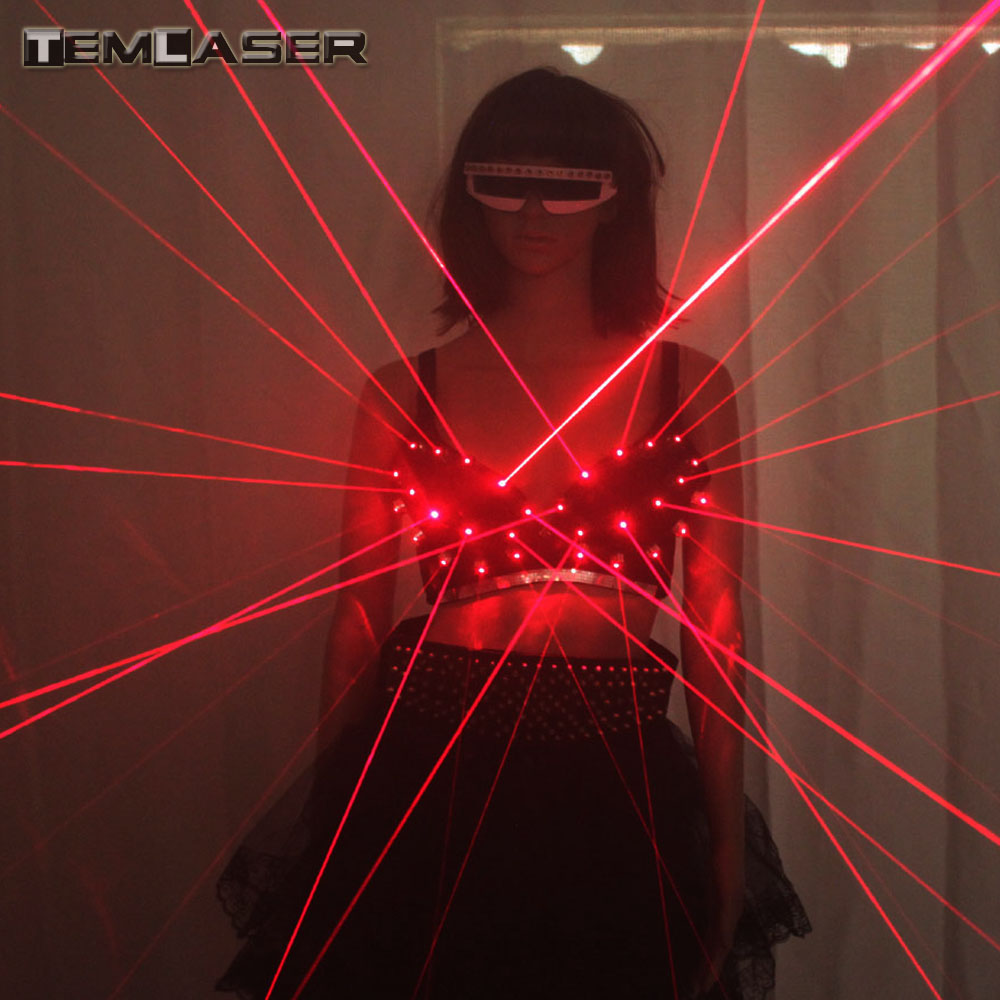 2018 Fashion Red Laser Luminous Sexy Lady Bra Laser Show Stage Costumes For Singer Dancer Nightclub Performers