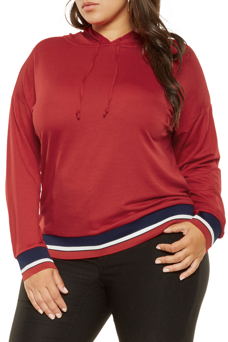 Tricolor-Striped-Trim-Red-Plus-Size-Hoodie-LC251541-3-1