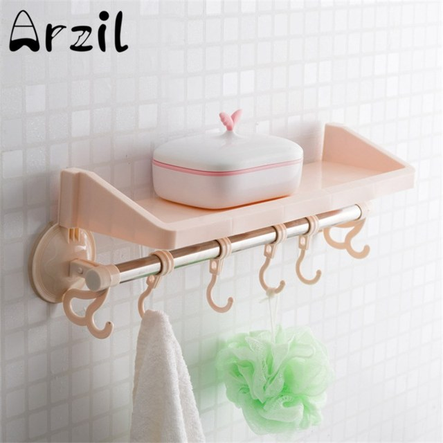 Bathroom Storage Hanger with 6 Hooks Vacuum Sucker Suction Wall Hanging Adjustable Stand Facial Cleanser Cosmetic & Bathroom Storage Hanger with 6 Hooks Vacuum Sucker Suction Wall ...