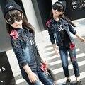 Primavera Outono roupa da Menina das crianças Calça Jeans cowboy terno Peônia tridimensional flores Two-piece suit set para 3-13years velho