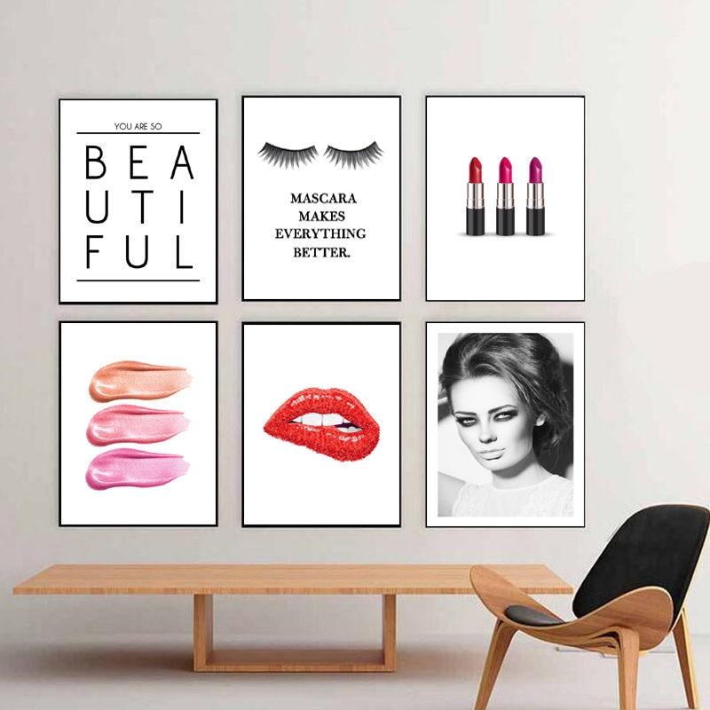 Black Eyelash Wall Art Picture Salon Wall Decor Red Lip Canvas Painting Fashion Beauty Makeup Poster Prints DH2611