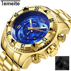 TEMEITE Mens Moda Criativa Grande relógio de Marcação De Luxo Ouro Azul Completa Aço Quartz relógios de Pulso À Prova D' Água Masculino Relogio masculino
