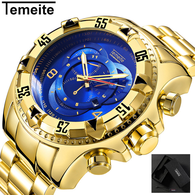 TEMEITE Relogio Masculino Top Brand Luxury Gold Big Dial Men's Quartz Watches Waterproof Wristwatch Male Military Watch Dropship