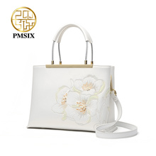 PMSIX Elegant Embroidery Flowers Leather Women Handbags Fashion Ladies Shoulder