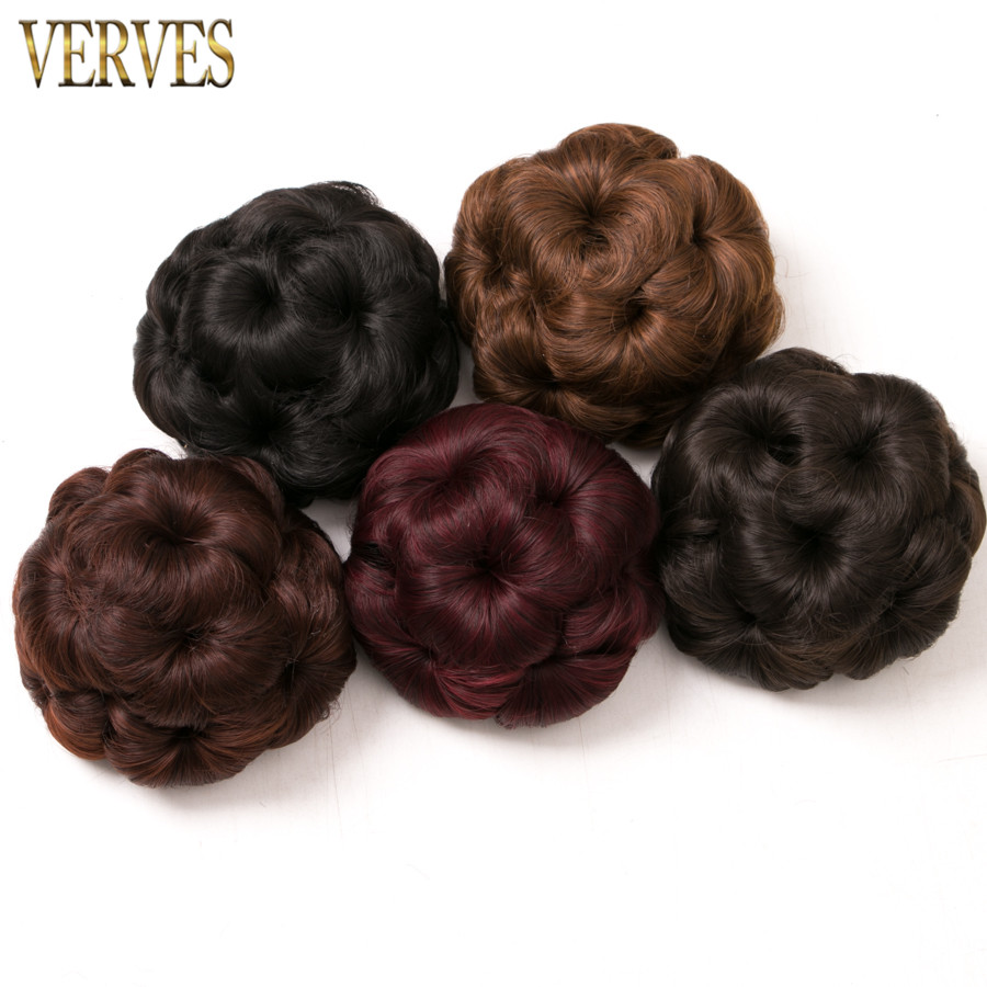Women Curly Chignon Clip In Elastic Fake Hair Bun Updo