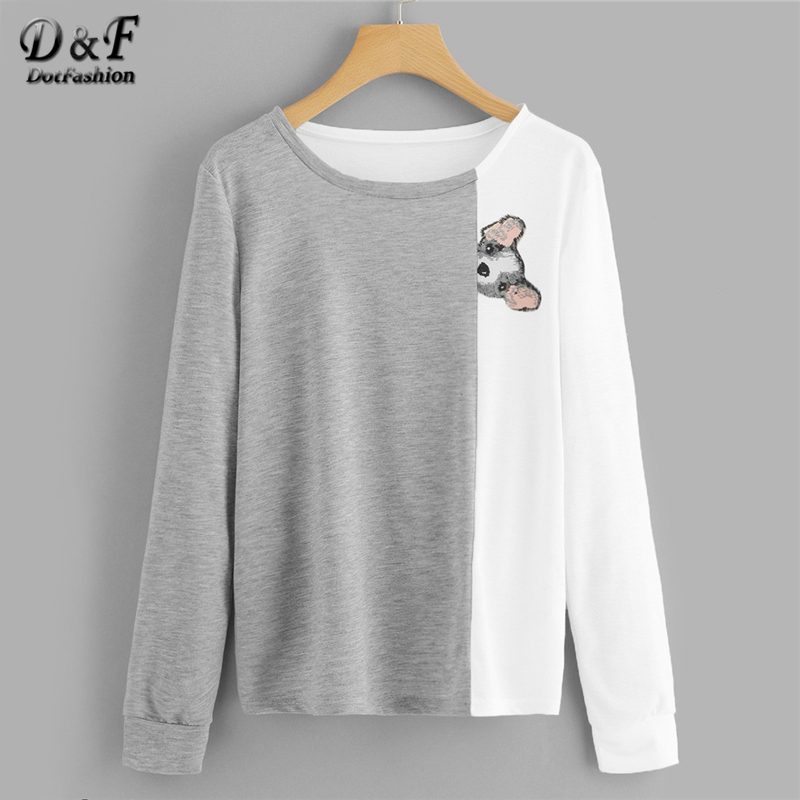 Dotfashion Colorblock Animal Dog Print Cut And Sew Tee Autumn Casual Long Sleeve Tops Spring Female Cute Multicolor   T  -  Shirt