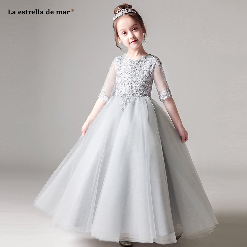 Flower     girls     dresses   for party and wedding2019 new Scoop neck tulle applique half sleeves sleeves ALine silver grey pink   girl