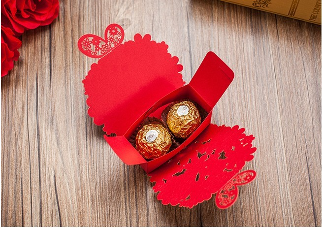 Laser Cut Wedding Favor Box 50pc Lot Red Gold Paper Butterfly Flower Baby Shower Candy Boxes Casamento On Aliexpress