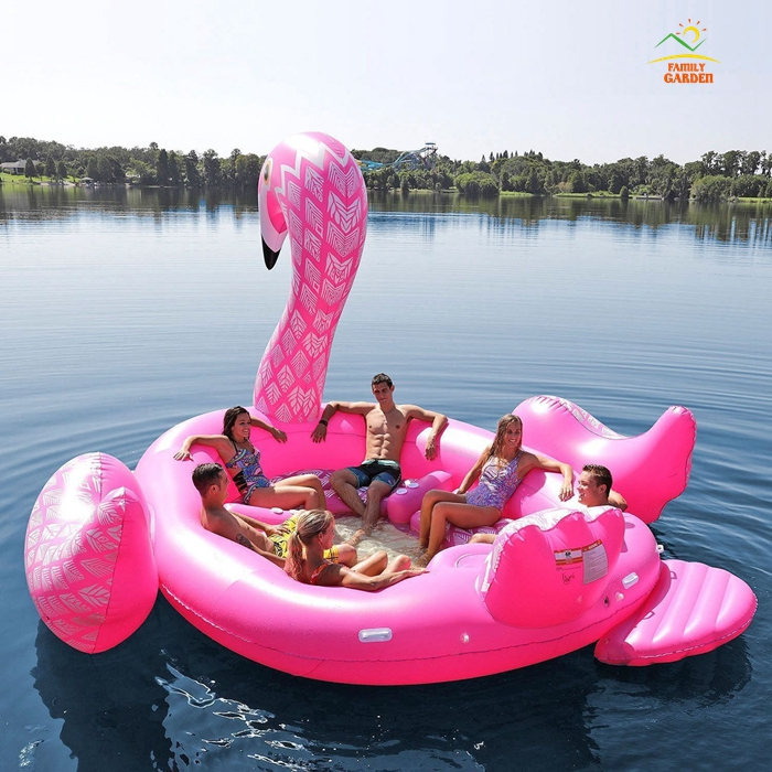 6 Person Inflatable Giant Pink Flamingo Pool Float Large Lake Floating Island Water Toys Pools Fun