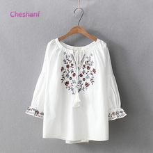 Blusa boêmia 2021 mulheres pulôver feminino primavera outono espanha estilo boho étnico alargamento manga camisa bordado blusas