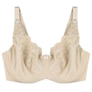 Image 4 - Vrouwen Ongevoerd Volledige Dekking Bras Plus Size Brasserie Borduurwerk Geen Gewatteerde Bh Beugel Bralette Ondergoed 36 46C/D/dd/Ddd/E/F/G