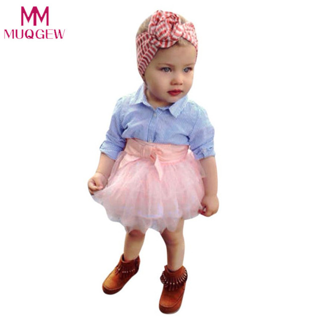 4c28f5d8aa86 2Pcs Summer Children Sets Toddler Baby Girls Bow Striped Tops+Tutu Skirt Set  Infant Outfits