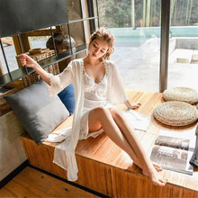 Women Sling Lingerie Sleepwear 2 pcs Sleeping Sexy Night Robes Autumn Winter Silk Robe Solid White Color Night Gown For Female