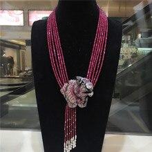 Ручной завязанный натуральный фиолетовый камень роза цветок застежка DIY аксессуар Женская цепочка на ключицы короткое многослойное ожерелье