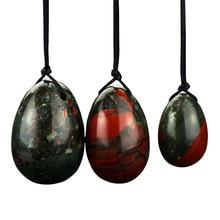 Jade Eggs 3 Pcs Drilled Bloodstone Yoni Eggs Pelvic Kegel Exercise Vaginal Tightening  for Women Health Care Crystal Balls