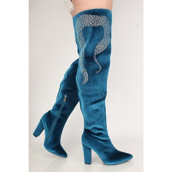 EMMA KING 2018 Royal Blue Thigh High Women Boots Suede Crystal Studded Super High Chunky Heels Boots Women Stage Shoes Women