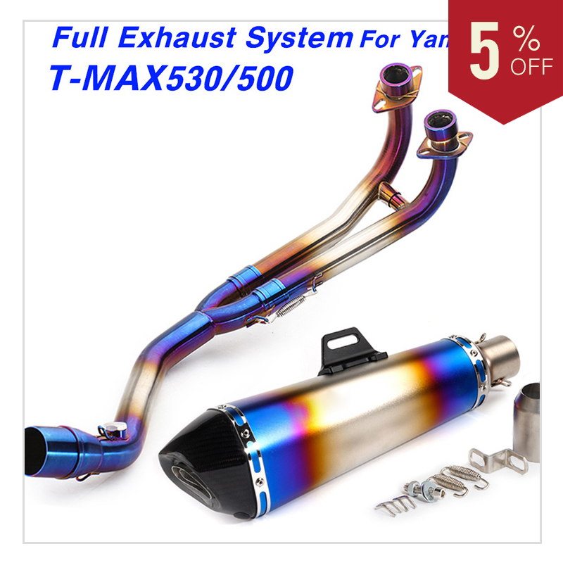 Motorcycle exhaust pipe Full exhaust System Stainless steel Escape Set Front Middle Link Pipe For Yamaha TMAX530 TMAX500 Slip On