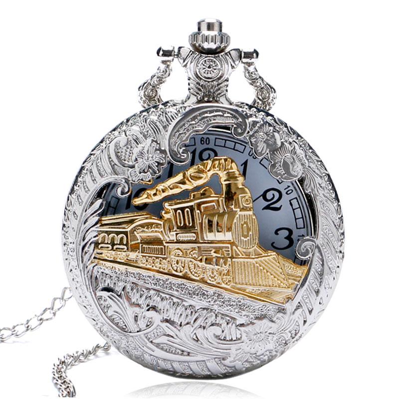 Vintage Charming Train Carved Openable Golden Hollow Steampunk Train Engine Pocket Watch Men Women Necklace Pendant Quartz Watch
