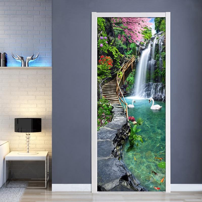 Nature Landscape Waterfall 3D Door Sticker Photo Wallpaper PVC Self Adhesive Waterproof Door Stickers Home Decor Mural De Parede